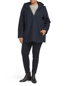 Plus Wool Blend Boucle Coat