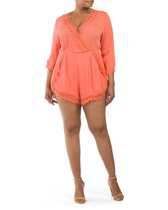 Plus Juniors Lace Trim Romper