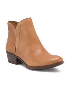 Side Zip Leather Booties