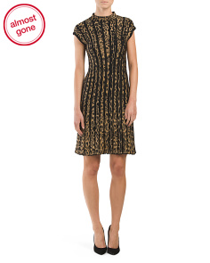 Made In Italy Animal Print Cap Sleeve Knit Dress