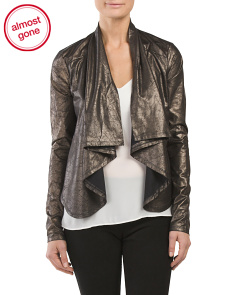Juniors Crinkle Metallic Jacket