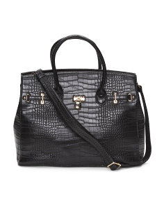 Croco Textured Satchel With Lock