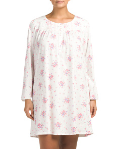 Plus Floral Long Sleeve Nightshirt