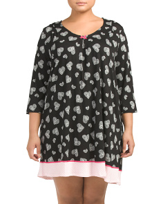 Plus Hearts Three Quarter Sleeve Nightshirt