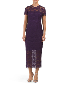 Corded Lace Fitted Midi Dress