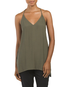 Juniors Woven Textured V Neck Tank