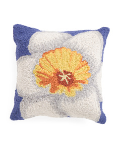 18x18 Hand Hooked Daffodil Pillow