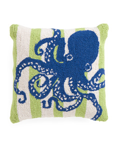 16x16 Hand Hooked Octopus Pillow