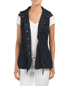 Juniors Snap Vest With Drawstring