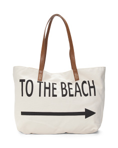 To The Beach Canvas Tote