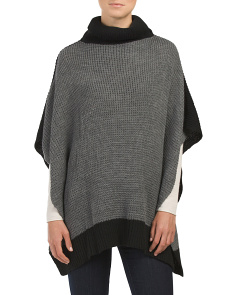 Colorblock Waffle Knit Poncho