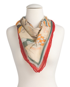 Map Print Square Solid Border Scarf