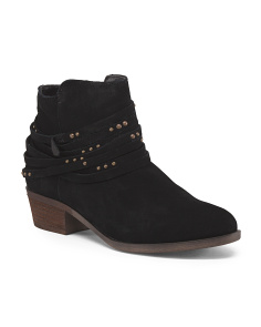 Strappy Ankle Low Suede Booties