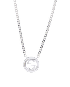 Made In Italy Sterling Silver GG Groove Double G Necklace