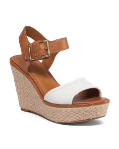 Leather Wedge Espadrille