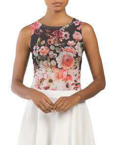 Juniors Made In USA Floral Mesh Bodysuit