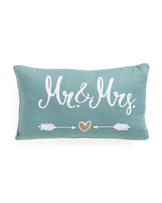14x24 Mr. & Mrs. Linen Embroidered Pillow