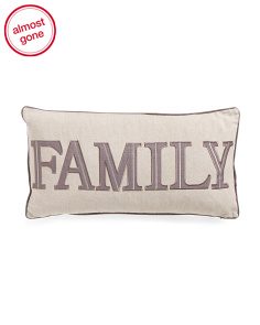 14x27 Faux Linen Family Applique Pillow