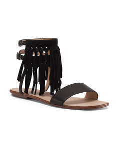Taryn Fringed Flat Leather Sandals