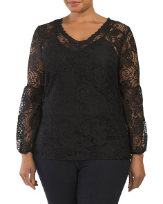 Plus Overlay Lace Top