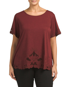 Plus Lace Trim Top