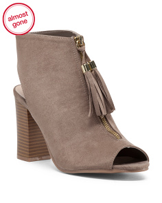 Center Zip Peep Toe Bootie
