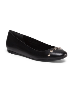 Made In Italy Leather Studded Round Toe Ballerina Flat
