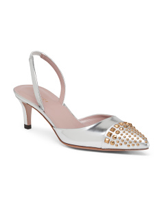 Made In Italy Studded Metallic Slingback Kitten Heel