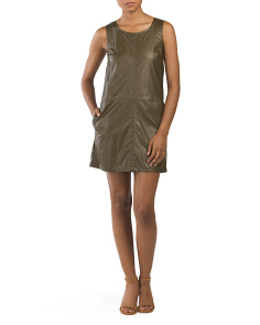 Juniors Faux Leather Shift Dress