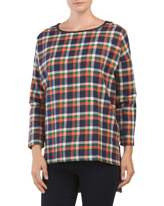 Oversized Hi Lo Plaid Flannel Top