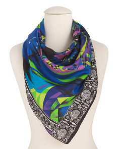 Made In Italy Silk Abstract People Foulard Scarf