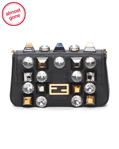 Made In Italy Studded Micro Leather Baguette Bag