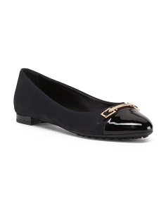 Made In Italy Patent Leather And Suede Ballerina Flats