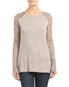 Made In Italy Jersey Lace Sleeve Top