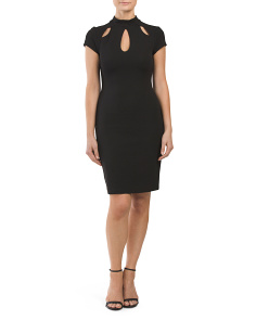 Juniors Cap Sleeve 3 Keyhole Dress