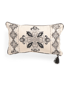 24x14 Medallion Raffia Trim Pillow