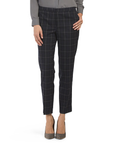 Windowpane Plaid Slim Pants