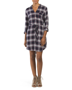 Juniors Tie Waist Flannel Dress