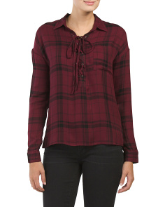 Juniors Lace Up Flannel Top