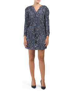 Silk Long Sleeve Printed Dress