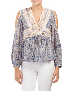Print Lace Cold Shoulder Top