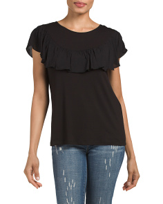 Made In Usa Mixed Media Ruffle Top