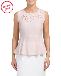 Silk Sleeveless Flower Cut Out Top