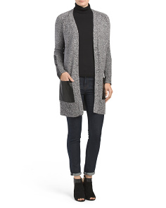 Faux Leather Pocket Sweater Duster