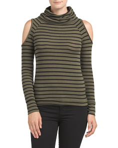 Juniors Cold Shoulder Cowl Neck Top