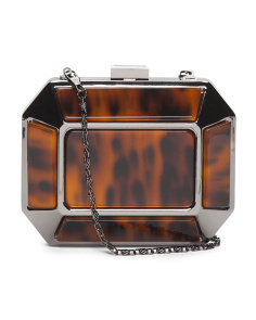 Tortoise Lucite Caged Clutch