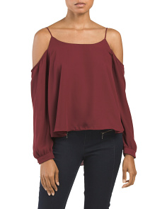 Juniors Cold Shoulder Layered Top