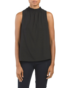Juniors Sleeveless Smock Neck Top