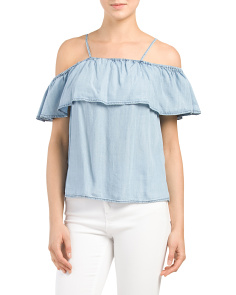 Juniors Cold Shoulder Chambray Top