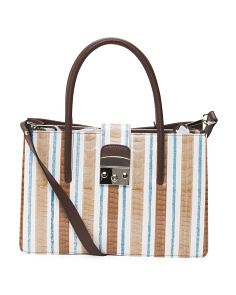 Made In Italy Striped Python Leather Satchel